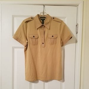 Ralph Lauren Tan Short Sleeve Half Button Shirt